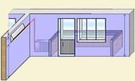 №1 Размещение внутреннего блока на левой стене, наружный под окном.